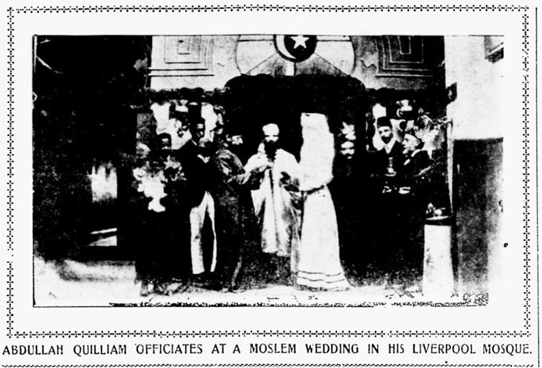 Abdullah Quilliam officiates at a Moslem Wedding in Liverpool Mosque. From an American newspaper, date 1903.