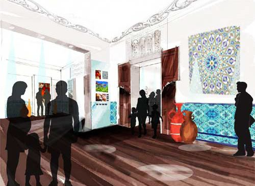 Concept visual - Abdullah Quilliam Heritage Centre | View from the display area towards the cafe