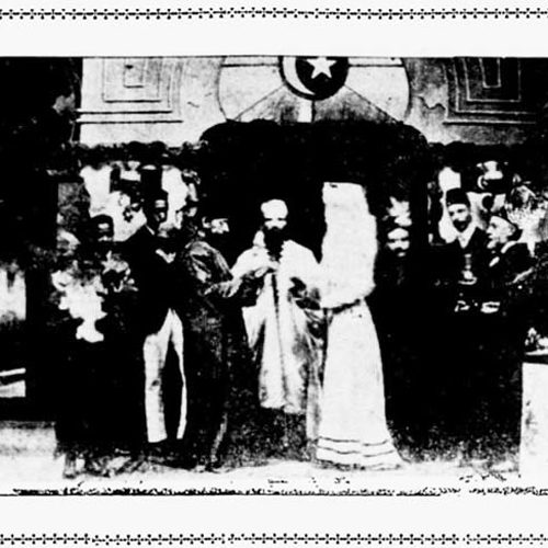 <h2>1891</h2> <p>Picture: Abdullah Quilliam officiates at a Moslem Wedding in Liverpool Mosque from an American newspaper, dated 1903.</p>  <h4><strong>First public Muslim marriage ceremony in Liverpool:</strong><br/>April, 1891</h4>