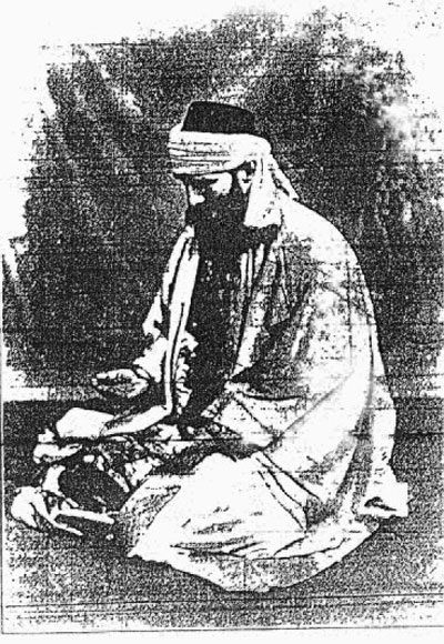 Painting of the Sheikh at prayer in 1902